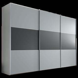 Staud Includo Schwebetürenschrank 3-türig mit Extra Innenausstattung Korpus und Front in Dekor saphir Türen mit Mittelband in Dekor vulkan