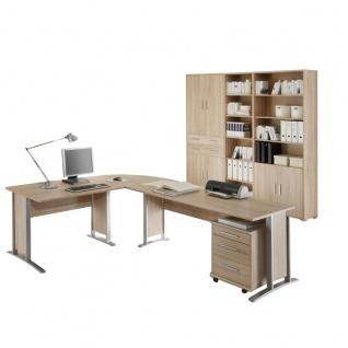 Bega Consult Office Line Büro Set 5-teilig in Sonoma-Eiche-Dekor bestehend aus Winkelschreibtischkombination inklusive Rollcontainer und Hochschrank-Kombination 6-türig mit 2 Schubkästen