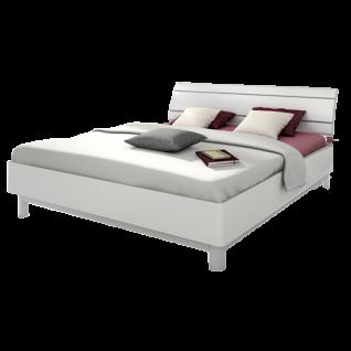 Nolte Möbel Sonyo+ Bett 2 gerundetem Bettrahmen Holz-Rückenlehne Polarweiß Rückenlehnen-Einfassung alu-matt Bettfußausführung Holz-Unterbaurahmen