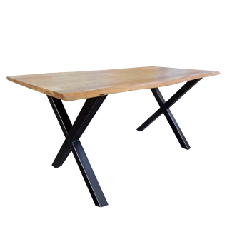 Sit Möbel Esstisch Tischplatte im Antikfinish mit Baumkante ca. 200 x 100 cm Gestell Metall schwarz