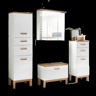 W.Schildmeyer Möbel Capri Badmöbel Set 4-tlg. für Badezimmer mit Spiegelschrank Highboard Hochschrank und Waschbeckenunterschrank