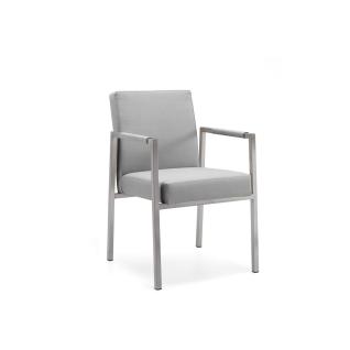 Niehoff Garden Ned Gartenstuhl G162 Armlehnenstuhl mit Vierfußgestell in Edelstahl gebürstet Sitz und Rückenlehne gepolstert Bezug wählbar Stuhl mit Armlehnen für Ihren Garten