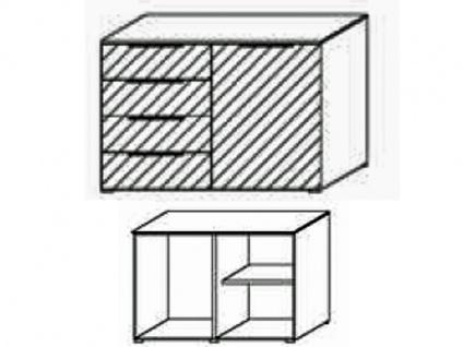 Schrank-Kommode mit 1 Tür rechts und 4 Schubkasten links, Front Dekor matt