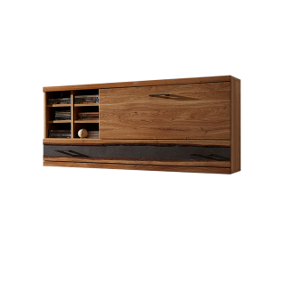 Wohn-Concept Crusty I Hängeelement 45 18 HH 12 Hängeschrank mit einer Klappe einem Schubkasten und sechs offenen Fächern in Wildeiche teilmassiv mit Absetzung in Steinoptik mit Baumrinde für Ihr Wohnzimmer oder Esszimmer