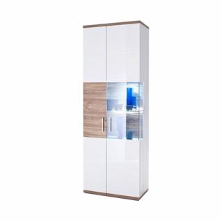 MCA Furniture Luzern LUZ93T10 Vitrine L für Ihr Wohnzimmer Hochglanz weiß tiefzieh Nachbildung mit Absetzung Sterling Oak