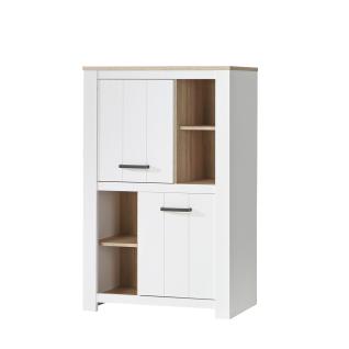 Forte Elara Highboard ERXS413 für Ihr Wohnzimmer oder Esszimmer Schrank mit Türen und offenen Fächern mit Korpus und Front in Weiß matt Dekor und Absetzungen in Bianco Eiche Nachbildung - Vorschau 2
