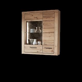 Ideal-Möbel Maderno Hängevitrine Type 29 mit Front aus Alteiche Lamelle Massivholz geölt Hängeelement mit Glastür und Holztür ideal für Ihr Wohnzimmer oder Esszimmer