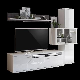 Ideal-Möbel Taviano Wohnkombination 46 moderne 3-teilige Wohnwand für Ihr Wohnzimmer mit Lowboard Wandboard und Regal Ausführung Weiß mit Hochglanzfronten und Absetzungen in Marmor Optik