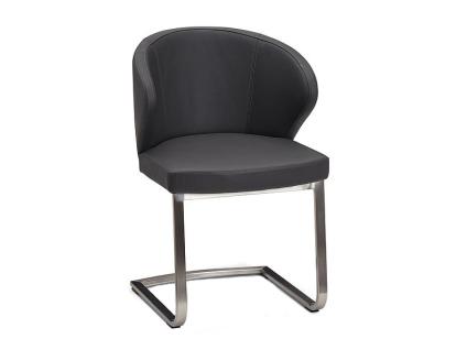 Schösswender Freischwinger P630 Stuhl mit gepolsterter Sitzschale Polsterstuhl Gestell in Edelstahl gebürstet mit wählbarem Bezug Stuhl passend zu Programmen Masala Moringa und Rialto