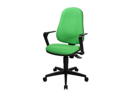 TopStar Point 25 Drehstuhl mit Sitzhöhenverstellung und Rückenlehne mit Wirbelsäulenausformung Bürostuhl mit wählbarem Bezug Armlehnen wahlweise