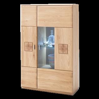MCA furniture Highboard R Bologna Art.Nr. BOL11T21 Eiche Bianco geölt Front Massivholz Lamellen Absetzung Hirnholz Korpus furniert Beleuchtung wählbar