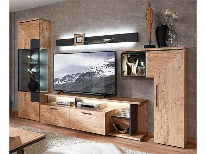 Schröder Kitzalm-Premium Kombination K001 furnierte Wohnkombination 4-teilig Wohnwand mit Akzentlack anthrazit für Wohnzimmer mit TV-Unterteil Vitrine Standelement in L-Form und Wandbord Beleuchtung wählbar