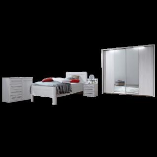 Wiemann Mainau Komfort-Schlafzimmer mit Schwebetürenschrank 2-türig Einzelbett Nachtschrank und Kommode in Polar-Lärche-Nachbildung