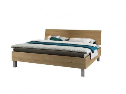 Nolte Express Möbel One 500 Doppelbett mit Liegefläche 180 x 200 cm Bettrahmen und Holz-Kopfteil in Riviera-Eiche