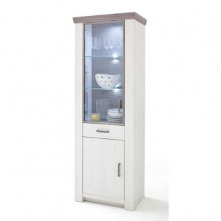 MCA furniture Vitrine L Art.Nr. BOZ96T10 Bozen in Pinie Aurello Nachbildung Absetzung Eiche Nelson Nachbildung Beleuchtung optional wählbar Glasschrank für Ihr Wohnzimmer oder Esszimmer