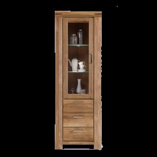 Elfo-Möbel Kira Vitrine 2861 mit 3 Schubkästen 1 Tür mit Glaseinsatz 2 Glaseinlegeböden Tür rechts oder links montierbar Wildeiche Massivholz geölt für Wohnzimmer oder Esszimmer