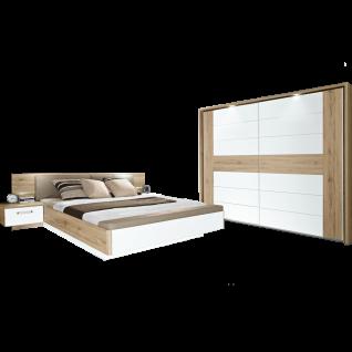 Forte Schlafzimmer Rondino 2-teilig bestehend aus Bettanlage RDNL181B Liegefläche ca. 180x200cm und Schwebetürenschrank 2-türig Bett inkl. Polsterkopfteil und gepolsterter Fußbank mit Stauraum