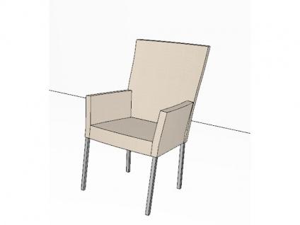 Gwinner Stuhl Eva Vierfußstuhl 152-000 mit Armlehnen Gestell Quadratrohr Edelstahl Polsterstuhl für Esszimmer Bezug wählbar