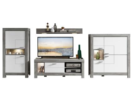 Wohn-Concept Granada 4-teilige Wohnkombination 83 für Ihr Wohnzimmer Wohnwand mit zwei Stauraumelementen einem TV-Unterteil und einem Wandboard inkl. LED-Beleuchtung Ausführung wählbar