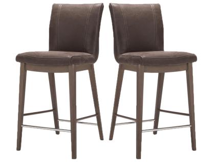 Habufa Sono Tresenstuhl mit Holzgestell 2er Set für Ihr Esszimmer oder Partyzimmer Barstuhl mit Vierfußgestell Holzausführung in Echtlederbezug oder Ledermix wählbar Handgriff an der Rückenlehne wählbar