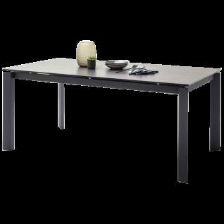 MCA furniture Esstisch Almaraz Art.Nr. AL18SMAN mit Stirnauszug Tischplatte Keramik / Sicherheitsglas Gestell Metall schwarz matt lackiert