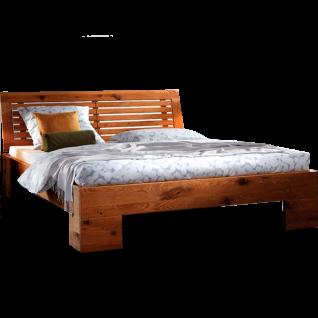 Hasena Oak-Wild Bett bestehend aus Bettrahmen Cadro 18 Kopfteil Barro und Füsse Cova in Wildeiche natur gebürstet geölt Liegefläche ca. 180x200 cm