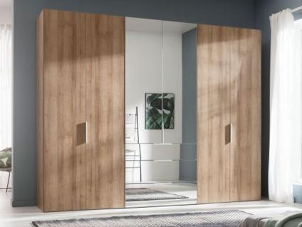 Nolte Express Möbel One 210 Drehtürenschrank 6-türig mit 3 Schubkästen Türen außen in Korpusfarbe und die mittleren Türen und die Schubkästen mit Spiegelauflage