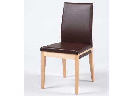 Standard Furniture Stuhl Santos mit extravagantem Massivholzgestell und kantenumlaufenden Ziernähten moderner Polsterstuhl für Wohnzimmer oder Esszimmer Gestellausführung und Bezug wählbar