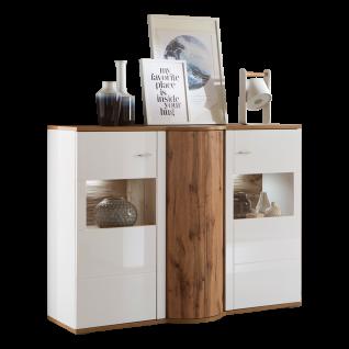 Ideal-Möbel Magic Highboard 52 mit Drehkarussel und zwei Glastüren Korpus Weiß Front Weiß Hochglanz Absetzung Wotan Eiche Nachbildung