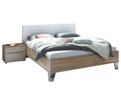 Staud Sonate Bett in Komforthöhe mit Fußteil 1 und Polsterkopfteil Rechteck Bettrahmen in Dekor mit Zierleisten Liegefläche wählbar inklusive 2 Nachtschränken
