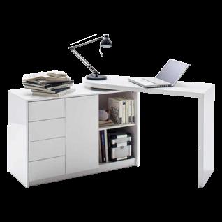 MCA furniture Office Schreibtisch Matt 40220WW2 als Winkelkombination in Hochglanz weiß lackiert mit schwenkbarer Schreibtischplatte und Regalschrank mit vier Schubkästen und einer Tür ideal für Ihr Büro