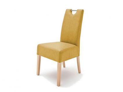 MCA Direkt Stuhl Enya Bezug Argentina in der Farbe curry 2er Set Polsterstuhl für Wohnzimmer und Esszimmer Ausführung 4 Fuß Massivholzgestell und Chromgriff