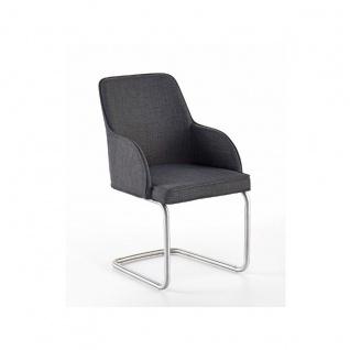 MCA furniture Elara Stuhl ECSE31GX 2er-Set erhältlich Bezug Feingewebe grau Polsterstuhl mit Schwinger Rundrohrgestell Schwingstuhl für Ihr Esszimmer