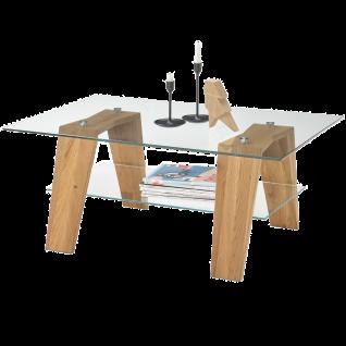 MCA furniture Couchtisch Lublin Art.Nr. 58686A19 Tischplatte rechteckig Klarglas Ablageboden Klarglas Gestell Asteiche Massivholz geölt