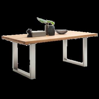 MCA furniture Esstisch Dayton ausziehbar Kufengestell Edelstahl Tischplatte aus Massivholz geölt Sychronauszug Tischgröße wählbar