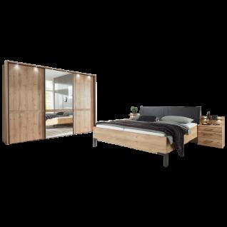 Wiemann Mexiko Schlafzimmer Futonbett 3-türiger Schwebetürenschrank und Nachtkonsolen in Bianco-Eiche-Nachbildung Griffe und Winkelfüße in Schiefer