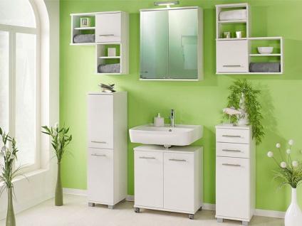 W. Schildmeyer-Möbel Badezimmermöbel Set 6-tlg. für Badezimmer mit Winkelregalen Spiegelschrank Unterschrank Waschbeckenunterschrank und Highboard