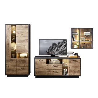 Wohn-Concept Brownsville Wohnwand Kombi 40A0GV80 Front Haveleiche Cognac Nachbildung Korpus bzw. Absetzung in Graphit LED-Beleuchtung optional