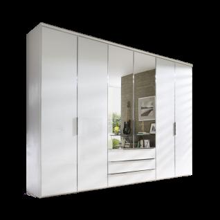 Nolte Möbel Horizont 10500 Drehtürenschrank 6-türig mit 3 Schubkästen und 2 Spiegel Ausführung Polarweiß mit Griffen und Tür- und Schubkasteneinfassung in chrom optional mit Dämpfung