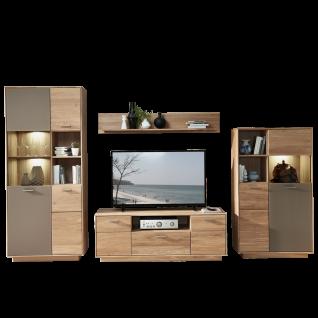 Wohn-Concept Topaz TV- / Wohnlösung 46 03 HM 81 in Wildeiche bianco Massivholz mit Absetzung in Glas Basalt Wohnwand mit viel Stauraum Wohnkombination mit zwei Vitrinen einem TV-Unterteil und einem Wandboard für Ihr Wohnzimmer LED-Beleuchtung wählbar
