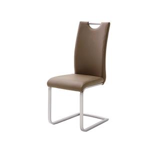 MCA Furniture Paulo PAUE10X Freischwinger 4er-Set für Esszimmer in Kunstleder Cappuccino mit Kontrastnaht in Creme Stuhl mit Griffloch und Gestell in Edelstahl gebürstet ***AM LAGER***