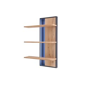 MCA Furniture Portland Wandregal POR17T53 für Ihr Wohnzimmer oder Esszimmer Wandpaneel mit drei Böden in Asteiche bianco / Anthrazit