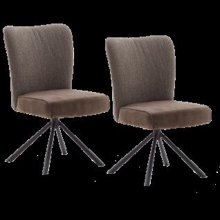 MCA furniture Polsterstuhl Santiago Sitzschale A Materialmix Bezug in 4 Farben Luxus-Komfortsitz 4-Fuß-Gestell schwarz Stühle im 2er Set