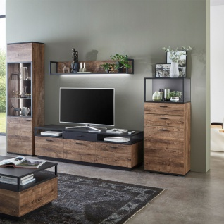 Ideal-Möbel Bacoor Wohnkombination 20 mit Vitrine Wandboard und Lowboard Dekor Eiche Ribbeck Cognac und Cosmos Grey Melamin mit Stahlprofilen - Vorschau 2