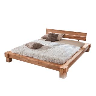 Woodlive Hohlbalkenbett Kavas in Kernbuche oder Wildeiche Massivholz natur geölt Liegefläche wählbar für Ihr Schlafzimmer oder Gästezimmer