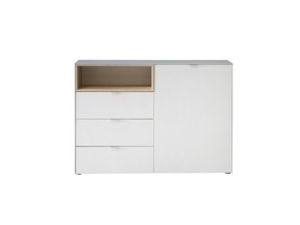 FORTE Stamford Kommode SFDK221 mit Tür und drei Schubkästen mit Deckplatte aus Glas Korpusfarbe Weiß Nichsenabsetzung Sonoma Eiche Sideboard für Ihr Schlafzimmer Wohnzimmer oder Esszimmer