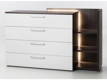 Nolte Möbel Novara Kommode mit 4 Schubkästen und Anstellregal inklusive LED-Beleuchtung