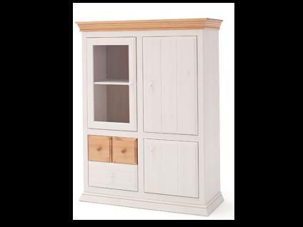 Euro Diffusion Sylt Kommode aus Kiefer Massivholz mit 1 Glastür 2 Schubkästen 2 Holztüren und 3 Einlegeböden in weiß mit Absetzungen in weiß antik oder lava
