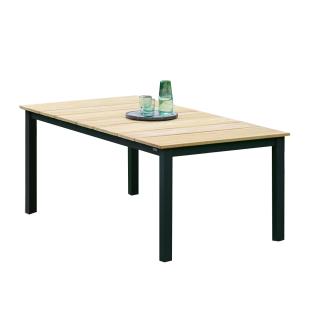 Niehoff Garden Nelson Gartentisch G563 mit Massivholztischplatte in Teak gebürstet und mit Vierfußgestell in Aluminium pulverbeschichtet Anthrazit für Ihren Garten Größe wählbar