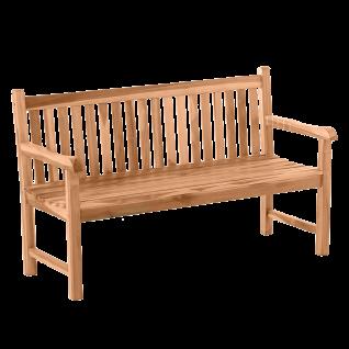 Möbilia Gartenmöbel stabile 2-Sitzer Gartenbank aus Massivholz Teak ca. 150 cm breit Sitzbank für Garten und Terrasse